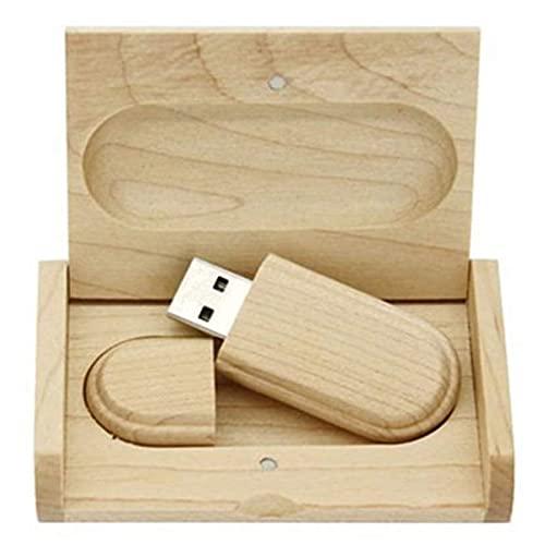 YFAX Palillos de Memoria USB, Memoria USB de Madera de Arce, Almacenamiento de Datos USB3.0 32GB con Caja de madera-16GB