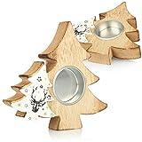 com-four® 2X Teelichthalter in Tannenbaumform - dekorative Kerzenständer aus Holz - weihnachtliche Kerzenhalter für jeweils EIN Teelicht (02 Stück - Tannenbaumform)