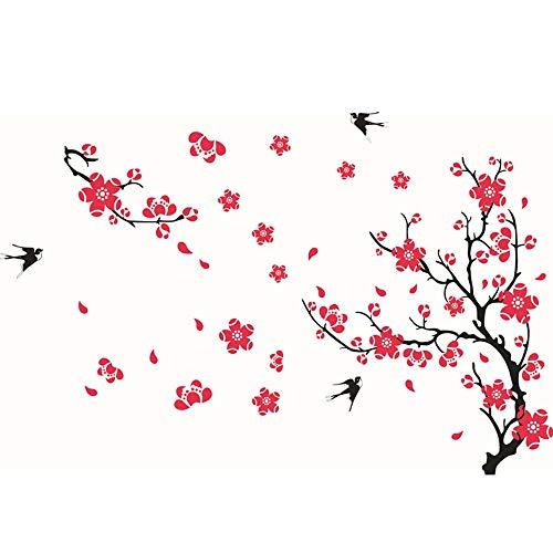 TEBX Vinilo adhesivo para pared, diseño de mariposa, diseño de flores de ciruelo