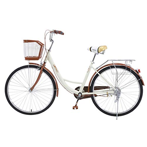 26 Inch Women's Cruiser Bike,Classic Bicycle Retro Bicycle Beach Cruiser Bicycle Retro Bicycle (Women's Bike,Lady, Gloss White)
