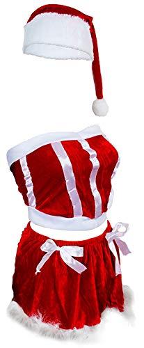 COM-FOUR® 5-delig sexy kerstkostuum voor dames gemaakt van polyester - dameskostuum voor kerst - one size