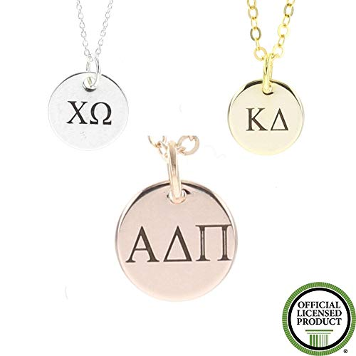 Dainty Sorority Necklace - DGR-12 - Greek Letter Big Lil Sis Rush Week - Alpha Chi Omega Xi - Kappa Delta - Silver Rose Gold Charm Gift - 1/2 Inch 12MM Discs
