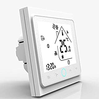Bac-002-elw White 4 Pipe Wifi Smart Central Air Conditioner Thermostat Temperature Controller 3 Speed Fan Coil Unit Work W...