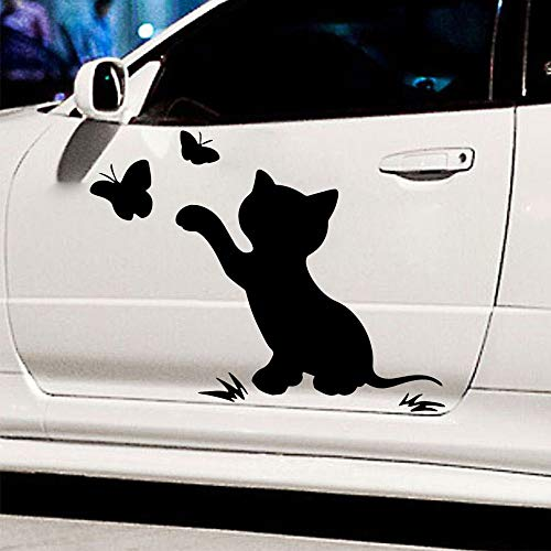 Cartoon Katze Auto Aufkleber Schmetterling Auto Form Spaß Auto Aufkleber Abziehbilder Abnehmbare Dekorative Autoteile L 28cm X 22cm König