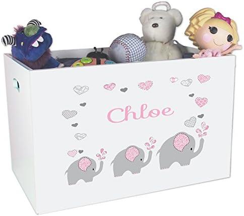 Personalized Elephant Childrens Nursery White Open Toy Box product image