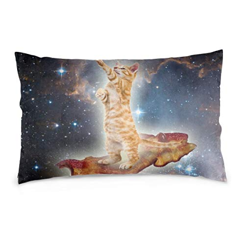 MoonStarDayUp Pillow Cases Cover Protector Bacon Cats in Space Pillowcases Sheets Zipper Bed Sofa Home Furnishing Standard Throw Pillows Covers Square Cushion,14'x20' 16'x24' 20'x30'