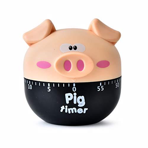 MAEKIJOY Temporizador mecánico de cerdo, temporizador de cocina, cuenta atrás, reloj analógico para cocina, cocina, cocina, cocina, horneado, hogar, reloj de cocina, color caqui