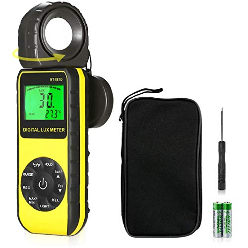 BT-881D Luxómetro Digital,Portátil Medidores LUX Digitales 0,01 ~ 400.000 Lux (0,01 ~...