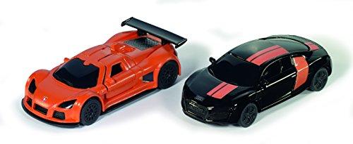 Siku 6310, Sportwagen Set, Spezialedition, 1:55, Metall/Kunststoff, Orange/Schwarz