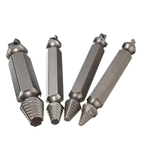 Byubox 4PCS de Acero al Carbono Lateral Doble Dañado Extractor de Tornillos de Acero de Alta Velocidad de Salida Remover el Tornillo Herramienta Caja de Almacenamiento