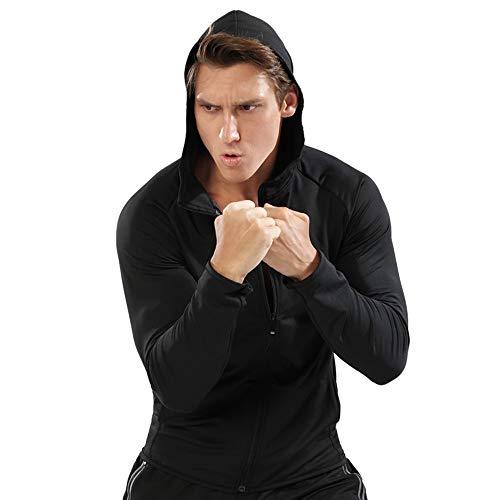 Muscle Alive Hombres Cremallera Corriendo Sudaderas con Capucha Deporte Chaquetas Aptitud Gimnasio Camisa Deportes Parte Superior