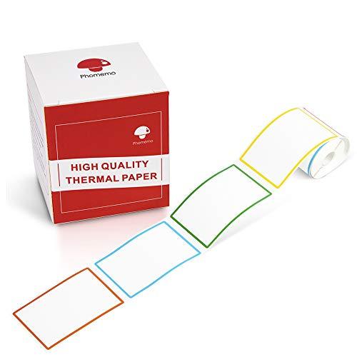 Phomemo M110対応 純正 4色 ラベルシール 感熱ロール紙 シール 50mm*80mm 矩形タイプ 100枚入り/巻 感熱ラベルプリンター用 業務用ハンドラベラー 印刷用紙 接着剤ある 通常再剥離 宛名/DIYラベル/値札/アドレス/配送/バーコ
