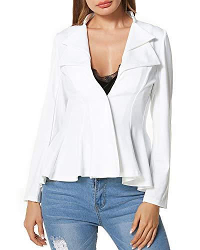 ACHIOOWA Top da Donna Giacca Corta Casual Ufficio Blazer Camicetta Cardigan Frontale Aperto Cappotto Bavero Bianco S