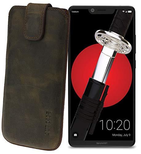 Suncase Original Etui Tasche für Sharp Aquos D10 *Lasche mit Rückzugfunktion* Handytasche Ledertasche Schutzhülle Hülle Hülle in antik-dunkel braun