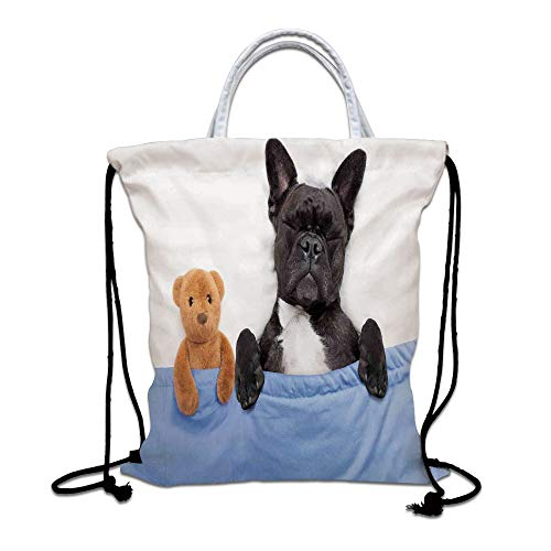 Animal Decor Drawstring Backpack,French Bulldog Sleeping with Teddy Bear in Cozy Bed Best Friends Fun Dreams Image Lightweight Gym Sackpack Tote Bags for Gym Hiking Travel Beach,Multi