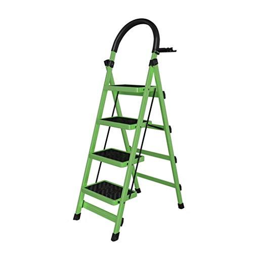 LRZLZY 4-Stufenleiter, die beweglichen faltenden Stahl Stehleitern, Teleskopleiter, Heavy Duty Küche Trittschemel mit Anti-Rutsch-Matte, 150kg Kapazität (Color : Green)