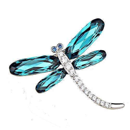 Ju-sheng Cristales de Broche para Mujer de Swarovski chapados en zircón Libélula Forma Broches para Mujer joyería (Color : Azul)