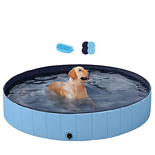 Yaheetech PVC Foldable Pet Dog Paddling Pool Puppy Swimming Pool 160 x 30cm...
