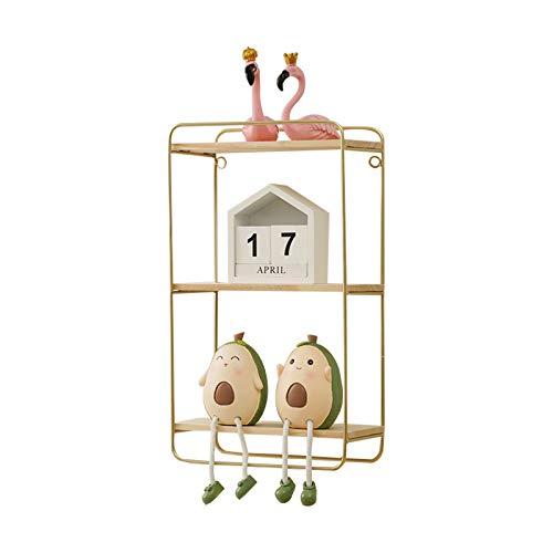 AZYJBF Estantes Flotantes de 3 Niveles para Estantes Decorativos de Pared, Madera y Metal para Baño Dormitorio Sala de Estar Cocina Oficina