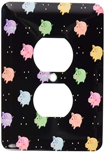 Einzelne Duplex-Wandplatte, Steckdosen-Wandplatte, Regenbogen-Schweine-Muster – Cartoon-bunte süße Schweine – mehrfarbiger Cartoon-Stil, moderner Anime-Stil auf schwarzer 2 Steckdosen-Abdeckung
