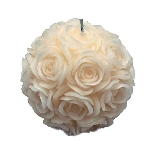 Wohnsinn Candela a Forma di Palla di Rosa, con Rosa in Rilievo, Candela Decorativa, Color Bianco, Fatto a Mano in Confezione Regalo Nera, 10x10x9cm