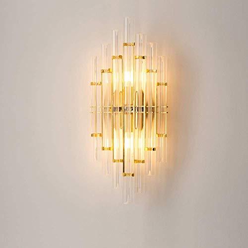 Lámpara de pared Lámpara de pared de lujo con luz minimalista moderna nórdica Lámparas de iluminación de metal de cristal 3-8 metros cuadrados Dormitorio Sala de estar Comedor Estudio Hotel Showroom