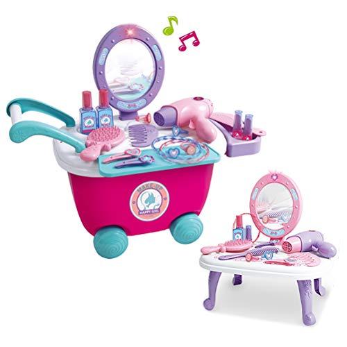 Dreamon Set Bellezza Finge i Giocattoli Tavolino di Trucco con Specchio et Accessori Inclusi Regalo di Natale per i Bambini Principessa 3 4 5 6 Anni(36 PCS)