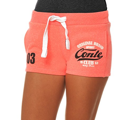 M.Conte Damen Jersey-Shorts Basic Skinni Fit Sport-Shorts/Training Retro-Shorts Kurze Damen-Hose Pants Jogginghose Sporthose Marine Blau Neon Pink Grau Weiss Rot S M L XL Neon-Pink L