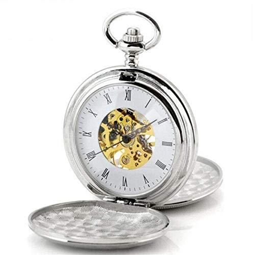 J-Love Moda Hombre y Mujer Personalidad Doble Abierto Dorado Plata Blanco Reloj de Bolsillo Vintage Hueco Machaincal Relojes para Regalo