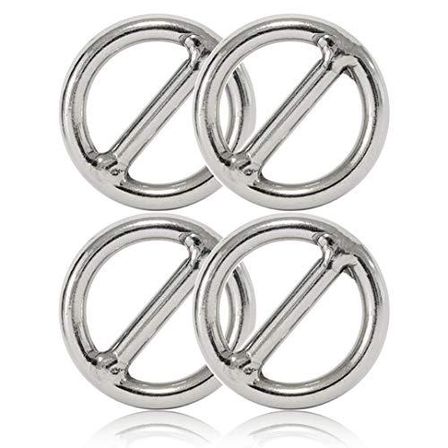 Ganzoo O - Ring mit Steg aus Stahl, 4er Set, DIY Hunde-Leine/Hunde-Halsband, nichtrostend, Steg-Ring ideal mit Paracord 550, geschweißt, Farbe: Silber