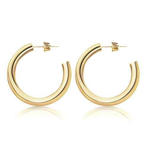 Good.Designs ® Creolen für Frauen | Damen Ohrstecker aus Edelstahl Gold Goldene Golden Goldkette goldfarben Kreolen