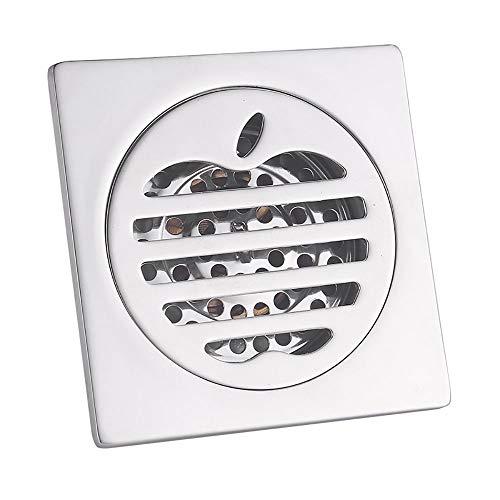 Voixy Bodenablauf für Badezimmer, Küche, Balkon, aus Edelstahl 304, 10 x 10 cm (525, Feder)