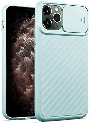 Suhctup Funda protectora para iPhone 11 Pro Max 6,5 pulgadas, antigolpes, antideslizante, elegante, cobertura de cámara deslizante [protección de la cámara] de silicona fina – Azul