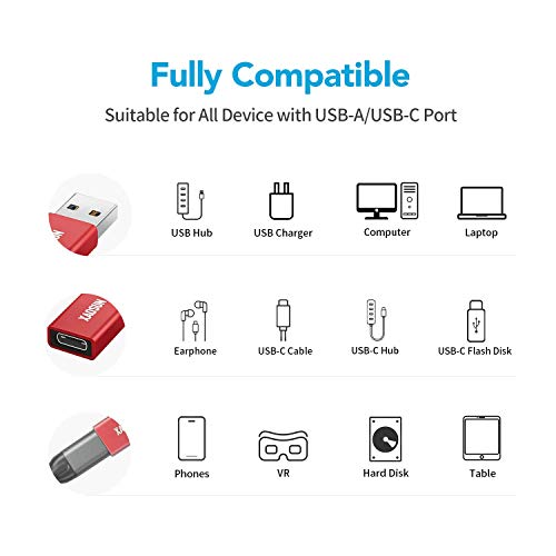 Support One-Sided 10Gbps Data Sync /& Fast Charging Power Banks Chargers USB to USB C Adapter 2 Pack - XAOSUN 3.0//3.1 USB A to USB Type C Converter Compatible with Laptops PC