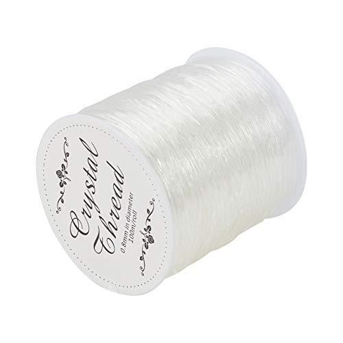 PandanHall -Hilo del elástico de Cristal de Tramo, para Abalorios y brazaletes de Manualidades, Claro, 0.8 mm, 100 m/Rollo