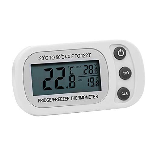 DierCosy Tools Cocina Nevera Termómetro Termómetro del refrigerador congelador a Prueba de Agua Digital con Gancho LCD de Gran Volumen para casa Blanca