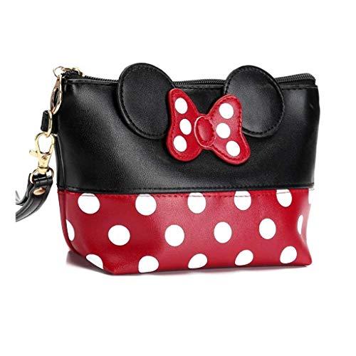 Minnie Mouse Ears Style Tupfen Kosmetiktasche - Damen Schminktasche Cartoon Mini Geldbörse für Handtasche Makeup Tasche,Schlüsseln, Kopfhörern, Lippenstift (Rot schwarz)