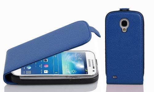 Cadorabo Custodia per Samsung Galaxy S4 Mini in Blu Marina - Protezione in Stile Flip di Similpelle Strutturata - Case Cover Wallet Book Etui