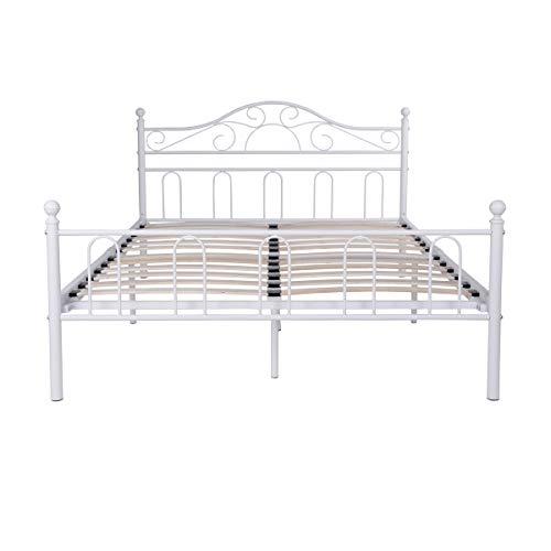 Aingoo Lit métal Double avec Lattes en Bois et Cadre de lit renforcé avec sommier de tête de lit...