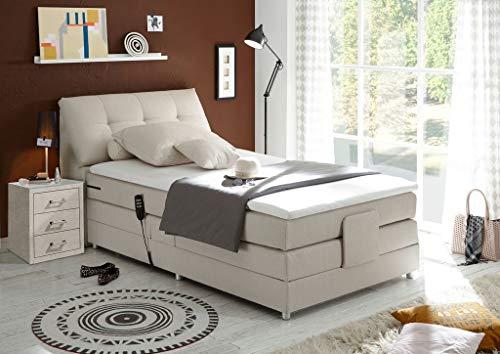 *Froschkönig24 Concord 120×200 cm Boxspringbett Bett mit Motor Beige, Ausführung:Variante 4*