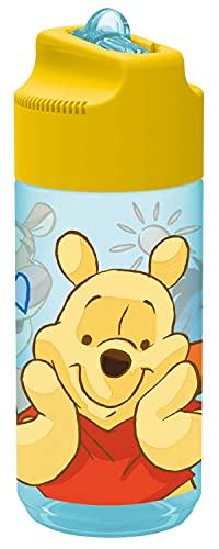 Pos 27291 - Borraccia con motivo Winnie the Pooh, trasparente con cannuccia ribaltabile, senza BPA, capacità ca. 430 ml, ideale per asilo, scuola, sport e tempo libero