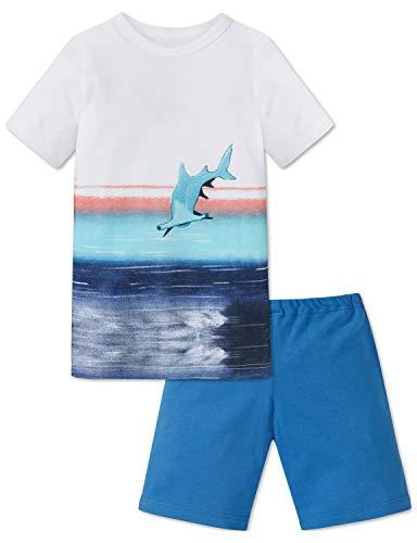 Schiesser Jungen Kn Anzug kurz Zweiteiliger Schlafanzug, Weiß (Weiss 100), 98 (Herstellergröße: 098)