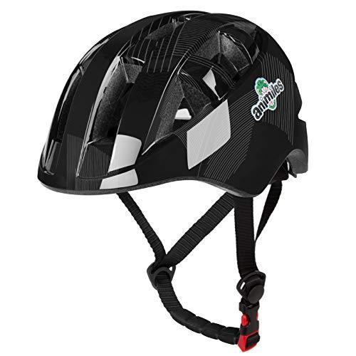 ANIMILES Kids Bike Helm, Kleinkindhelm Einstellbare Belüftung Schlagfestigkeit für Kinder 3-5/5-8 Jahre, Jugend Jungen Mädchen… (Schwarz)