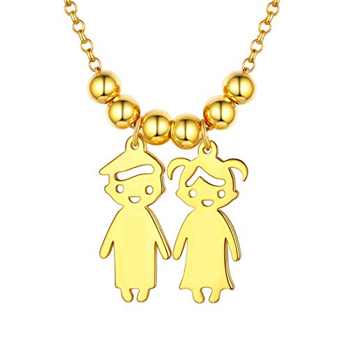 Two Kid Boy and Girl Necklace for Women Mom Children 18K Gold Plated 925 Sterling Silver Child Pendant with Chain Birthday Gift for New Mum