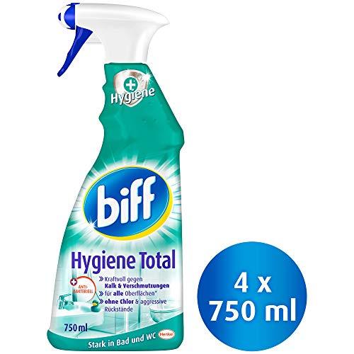 Biff Hygiene Total Badreiniger (für alle Oberflächen) 4er Pack (4 x 750 ml Sprühflasche)