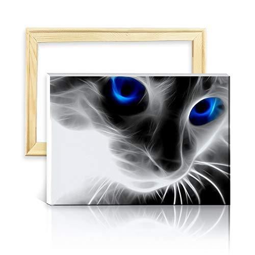 ufengke Kit Pintura de Diamantes 5D Gato Negro Punto de Cruz Diamante Completo DIY para Amantes del Arte, con Marco de Madera, Diseño 25x35cm