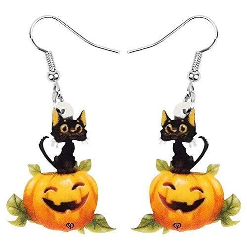 Acryl Halloween Kürbis-Laterne Katze EarrinRealistic Langer Netter Tier baumelt Tropfen Schmuck, for Frauen Kinder Geburtstags-Geschenk-Geschenk WKY