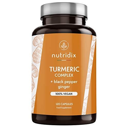 Kurkuma Bio 1300mg Dosierung mit Schwarzem Pfeffer und Ingwer - Starkes Antioxidans und Entzündungshemmend mit 100% Veganem Curcumin und Piperin - 120 Kapseln Nutridix
