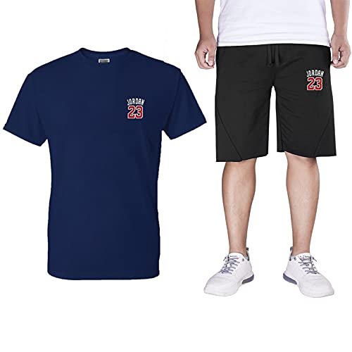 Chandal Hombre Completo ,23 Jordan Camiseta Pantalones Cortos Hombre Deporte 2 Piezas,Algodón Manga Corta Tshirts Short Pantalon Deporte Wash Blue-XXL