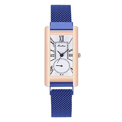 AxiBa relógio feminino elegante de quartzo para meninas, ultrafino, à prova d'água Azul
